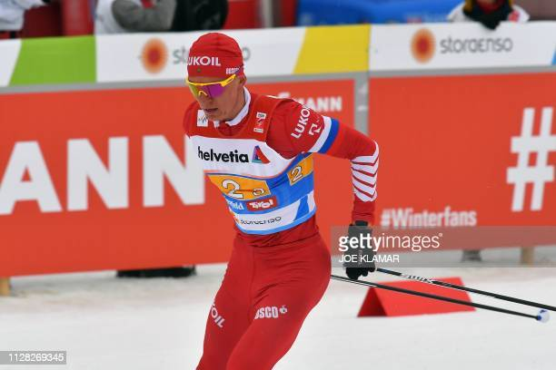 Russia's Alexander Bolshunov competes in the Men's cross country skiing relay 4x10km event at the FIS Nordic World Ski Championships on March 1 2019...