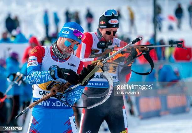 Russia's Alexander Loginov competes during the men's 4X75 km relay in the IBU Wolrd Cup Biathlon February 8 2019 in Canmore Canada