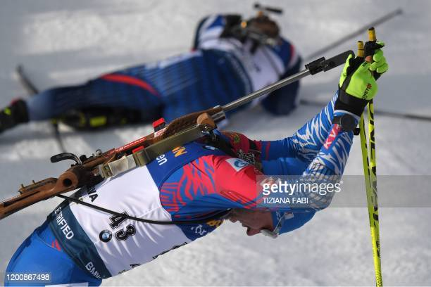 Russia's Alexander Loginov reacts after competing in the IBU Biathlon World Cup 10 km Men's sprint in RasenAntholz Italian Alps on February 15 2020