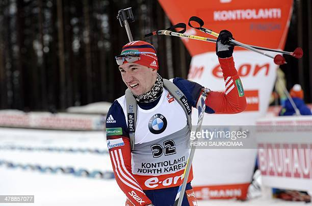Russia's Alexander Loginov reacts after the men's 10 km sprint competition of the IBU World Cup Biathlon event in Kontiolahti Finland on March 15...