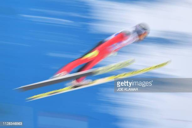 Russia's Alexander Pashaev competes in the jumping competition of the men's Nordic Combined Team Gundersen NH/4x5 km event at the FIS Nordic World...