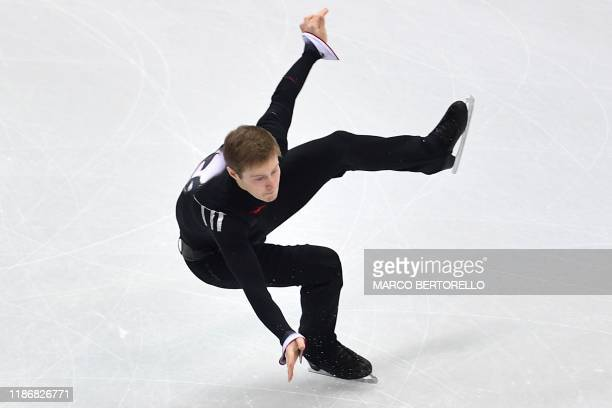 Russia's Alexander Samarin performs during the Men Free Skating program on December 7, 2019 at the ISU Grand Prix of figure skating Final 2019 in...