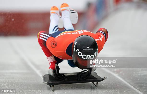 Russia's Alexander Tretiakov takes the start in the men's Skeleton event of the Bob and Skeleton World Cup in Winterberg, central Germany, on January...