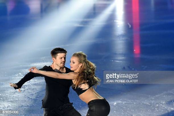 Russia's Alexandra Stepanova and Ivan Bukin perform during the Gala show at the end of the Internationaux de France ISU Grand Prix of Figure Skating...