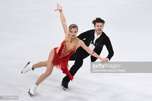 Russia's Alexandra Stepanova and Ivan Bukin perform during the ice dance programme event at the ISU World Figure Skating Championships in Stockholm...