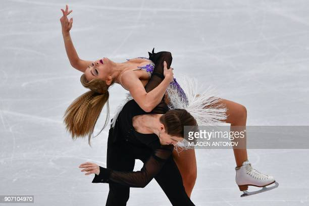 TOPSHOT Russia's Alexandra Stepanova and Ivan Bukin perform during their ice dance short dance at the ISU European Figure Skating Championships in...