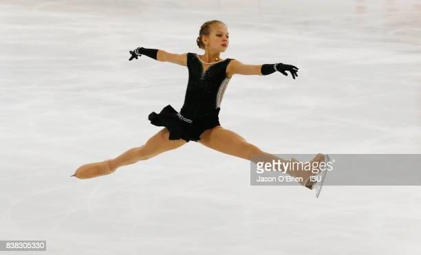 Russia's Alexandra Trusova during the ISU Junior Grand Prix of Figure Skating on August 24, 2017 in Brisbane, Australia.