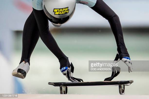Russia's Alina Tararychenkova competes during the second run of the women's skeleton competition of the IBSF Skeleton World Championship in...