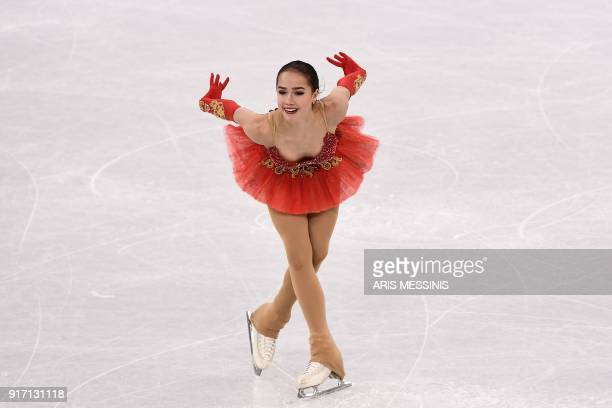 Russia's Alina Zagitova competes in the figure skating team event women's single skating free skating during the Pyeongchang 2018 Winter Olympic...