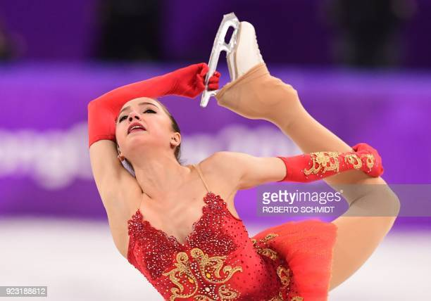 Russia's Alina Zagitova competes in the women's single skating free skating of the figure skating event during the Pyeongchang 2018 Winter Olympic...