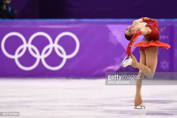TOPSHOT Russia's Alina Zagitova competes in the women's single skating free skating of the figure skating event during the Pyeongchang 2018 Winter...