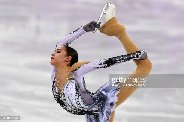 TOPSHOT Russia's Alina Zagitova competes in the women's single skating short program of the figure skating event during the Pyeongchang 2018 Winter...