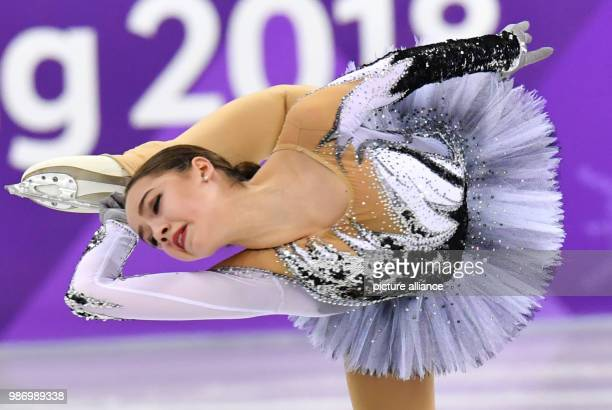 Russia's Alina Zagitova in action during the women's figure skating short program event during the Pyeongchang 2018 Winter Olympic Games in...