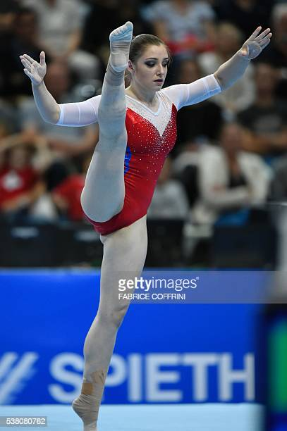 Russias Aliya Mustafina performs during the Womens Floor competition of the European Artistic Gymnastics Championships 2016 in Bern Switzerland on...