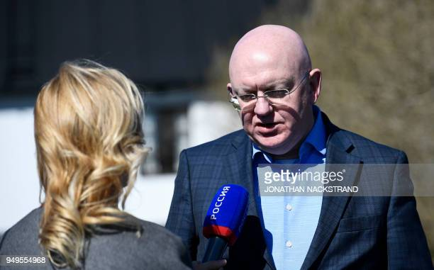 Russia's Ambassador to the United Nations Vassily Nebenzia answers to a journalist's questions during the annual informal working meeting with the UN...