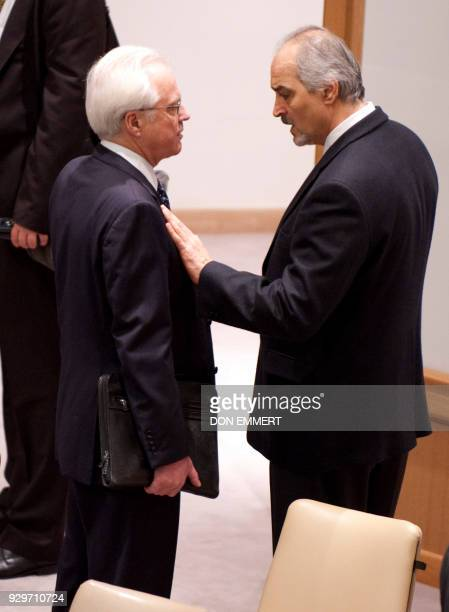 Russia's Ambassador to the United Nations Vitaly Churkin and Syria's Ambassador to the UN Bashar alJa'fari before a vote on a resolution on Syria in...
