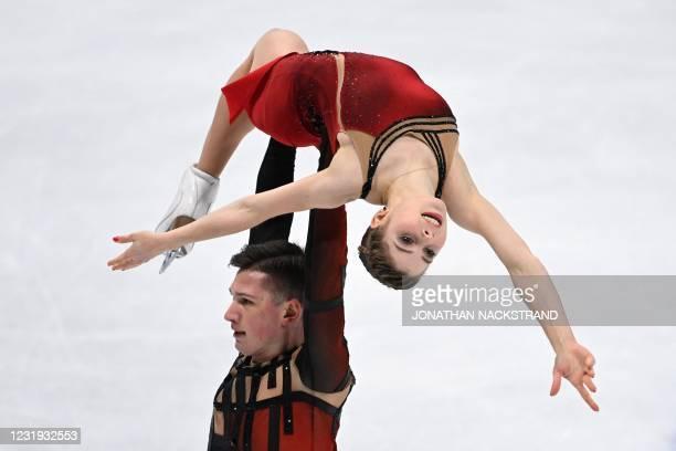 Russia's Anastasia Mishina and Aleksandr Galliamov perform during the pairs' free skating programme event at the ISU World Figure Skating...