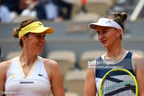 Russia's Anastasia Pavlyuchenkova and Czech Republic's Barbora Krejcikova pose prior to their women's singles final tennis match on Day 14 of The...