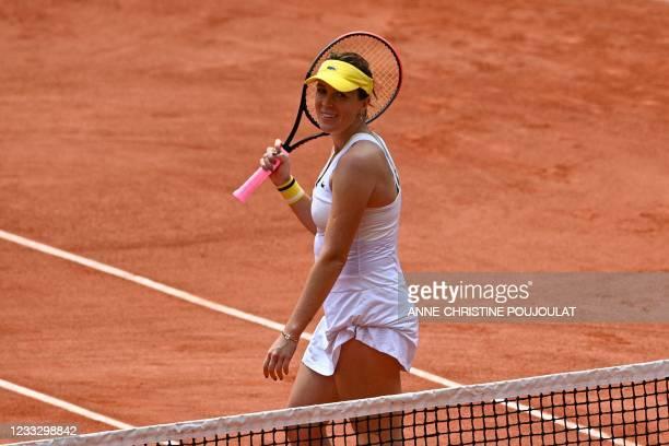 Russia's Anastasia Pavlyuchenkova celebrates after winning against Belarus' Victoria Azarenka during their women's singles fourth round tennis match...