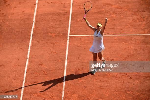 Russia's Anastasia Pavlyuchenkova celebrates after winning against Kazakhstan's Elena Rybakina during their women's singles quarter-final tennis...