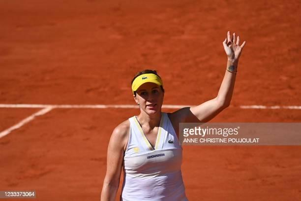 Russia's Anastasia Pavlyuchenkova celebrates after winning against Slovenia's Tamara Zidansek at the end of their women's singles semi-final tennis...