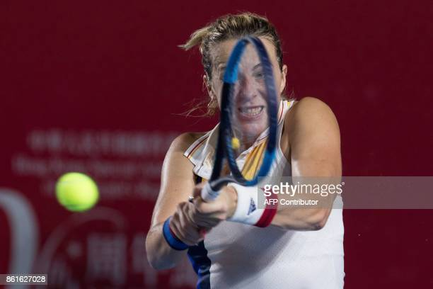 Russia's Anastasia Pavlyuchenkova hits a return against Australia's Daria Gavrilova during the women's singles final at the Hong Kong Open tennis...