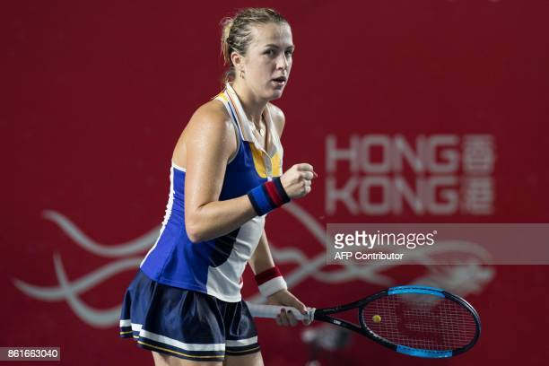 Russia's Anastasia Pavlyuchenkova reacts after a point against Australia's Daria Gavrilova during the women's singles final at the Hong Kong Open...