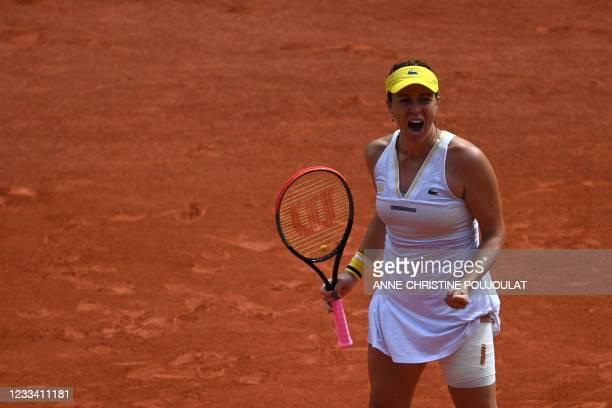 Russia's Anastasia Pavlyuchenkova reacts as she plays against Czech Republic's Barbora Krejcikova during their women's singles final tennis match on...