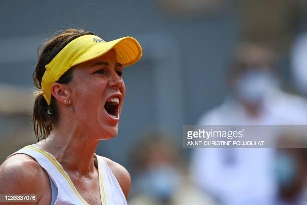 Russia's Anastasia Pavlyuchenkova reacts as she plays against Kazakhstan's Elena Rybakina during their women's singles quarter-final tennis match on...