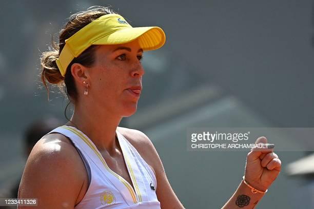 Russia's Anastasia Pavlyuchenkova reacts as she plays against to Czech Republic's Barbora Krejcikova during their women's singles final tennis match...