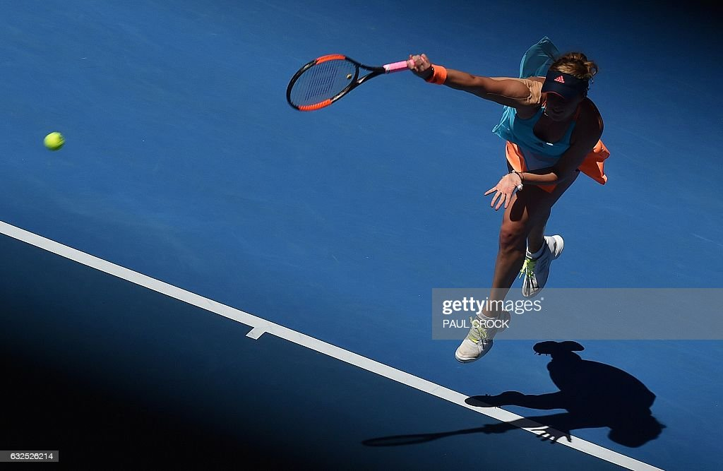 TOPSHOT - Russia's Anastasia Pavlyuchenkova serves against Venus Williams of the US during their women's singles quarter-final match on day nine of the Australian Open tennis tournament in Melbourne on January 24, 2017. / AFP / PAUL