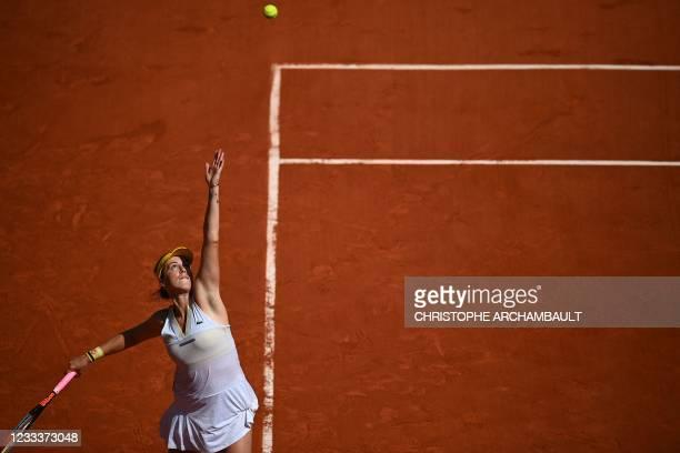 Russia's Anastasia Pavlyuchenkova serves the ball to Slovenia's Tamara Zidansek during their women's singles semi-final tennis match on Day 12 of The...