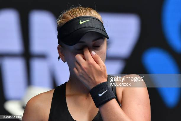 Russia's Anastasia Potapova reacts after a point against Madison Keys of the US during their women's singles match on day four of the Australian Open...