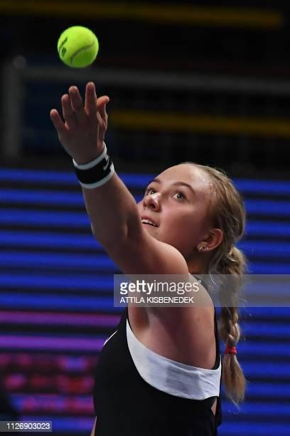 Russia's Anastasia Potapova serves the ball to Czech Republic's Marketa Vondrousova during their semifinal match of the WTA Hungarian Open Ladies'...