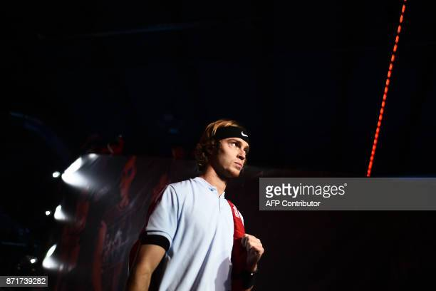 Russia's Andrey Rublev arrives to play his men's singles semi final tennis match of the first edition of the Next Generation ATP Finals in Milan on...