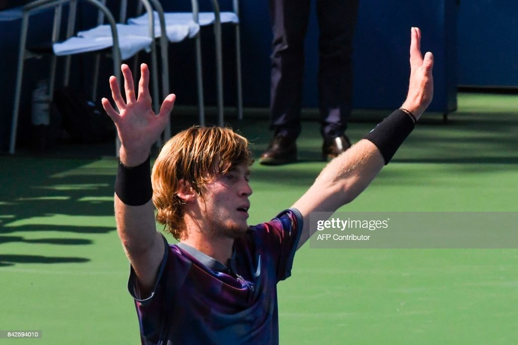 Russia's Andrey Rublev celebrates defeating Belgium's David Goffin during their Qualifying Men's Singles match at the 2017 US Open Tennis Tournament on September 04, 2017 in New York. / AFP PHOTO / Jewel SAMAD