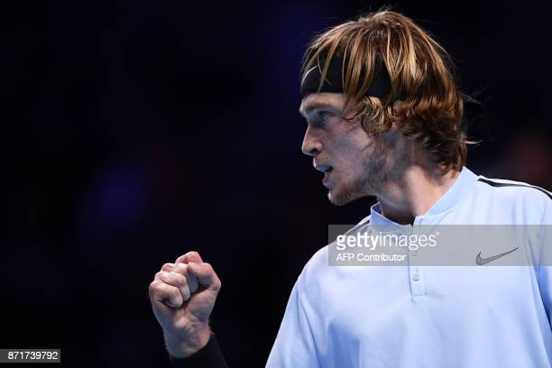Russia's Andrey Rublev reacts after a point against South Korea's Hyeon Chung during their men's singles tennis match of the first edition of the...