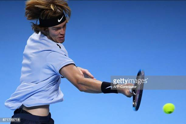 Russia's Andrey Rublev returns a shot to South Korea's Hyeon Chung during their men's singles tennis match of the first edition of the Next...