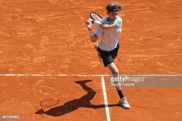Russia's Andrey Rublev returns the ball to Austria's Dominic Thiem during their tennis match as part of the MonteCarlo ATP Masters Series Tournament...