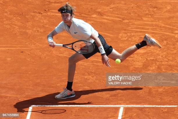 TOPSHOT Russia's Andrey Rublev returns the ball to Austria's Dominic Thiem during their tennis match as part of the MonteCarlo ATP Masters Series...