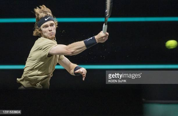 Russia's Andrey Rublev returns the ball to France's Jeremy Chardy on the fifth day of the World Tennis Tournament in Rotterdam, on March 05, 2021. /...