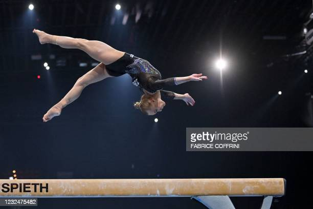 Russia's Angelina Melnikova competes in the beam competition during the Women's all-around final of the 2021 European Artistic Gymnastics...