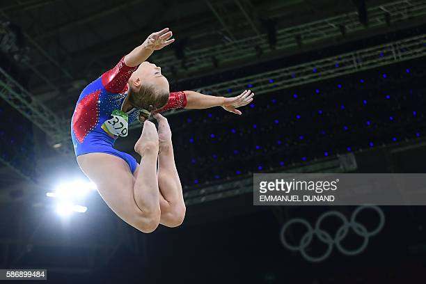 TOPSHOT Russia's Angelina Melnikova competes in the qualifying for the women's Beam event of the Artistic Gymnastics at the Olympic Arena during the...