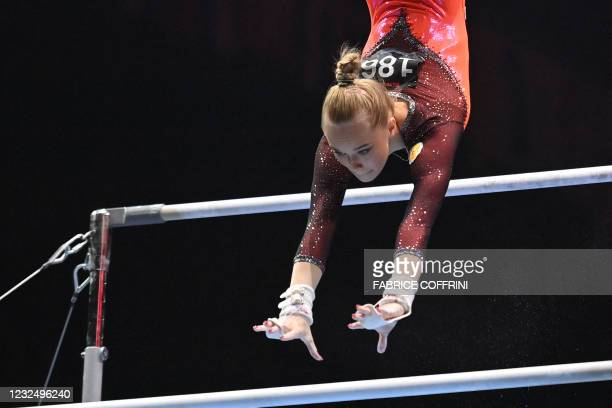 Russia's Angelina Melnikova competes in the Women's uneven bars apparatus final of the 2021 European Artistic Gymnastics Championships at the St...