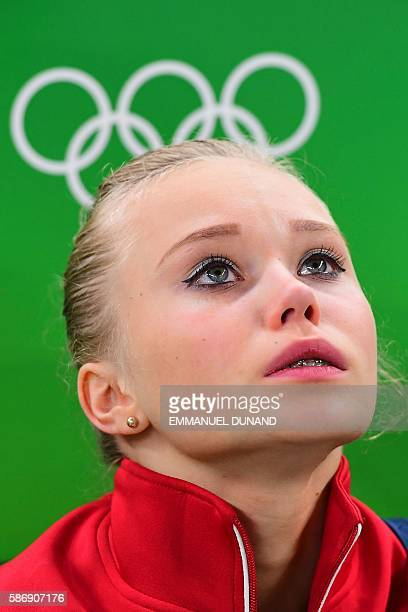Russia's Angelina Melnikova reacts during the qualifying for the women's Artistic Gymnastics at the Olympic Arena during the Rio 2016 Olympic Games...