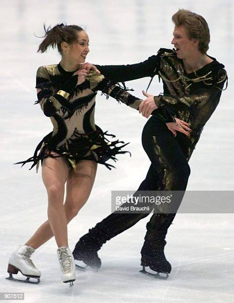 Russia's Anjelika Krykova and Oleg Ovsyannikov compete in the free dance at the European Figure Skating Championships in Prague Friday Jan 29 1999...