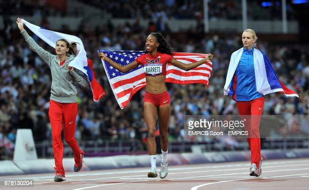 Russia's Anna Chicherova USA's Brigetta Barrett and Russia's Svetlana Shkolina celebrate after finishing first second and third respectively in the...