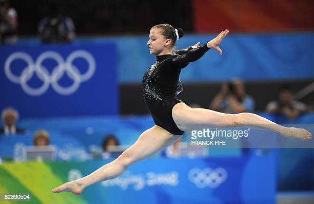 Russia's Anna Pavlova competes during the women's floor final of the artistic gymnastics event of the Beijing 2008 Olympic Games in Beijing on August...