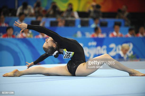 Russia's Anna Pavlova competes in the women's floor final of the artistic gymnastics event of the Beijing 2008 Olympic Games in Beijing on August 17...