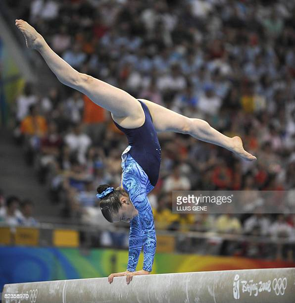 Russia's Anna Pavlova competes on the balance beam during the women's individual allaround final of the artistic gymnastics event of the Beijing 2008...